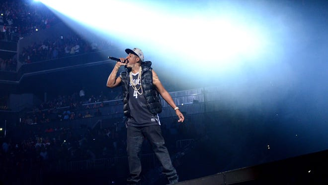 Jay-Z performs the inaugural concert at the Barclays Center in Brooklyn on Friday.