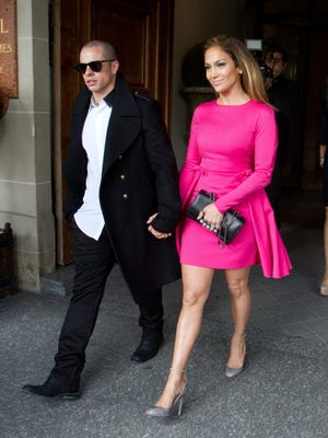 Jennifer Lopez and Casper Smart are seen leaving the Saint James Albany hotel today in Paris.