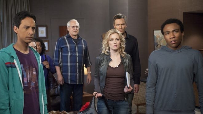 Danny Pudi, left, Chevy Chase, Gillian Jacobs, Joel McHale and Donald Glover star on NBC's 'Community.'