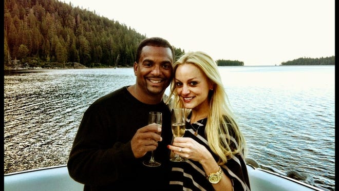 Alfonso Ribeiro announces his engagement to Angela Unkrich on his Facebook page in July.