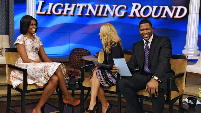 Michelle Obama gets grilled by Kelly Ripa and Michael Strahan.