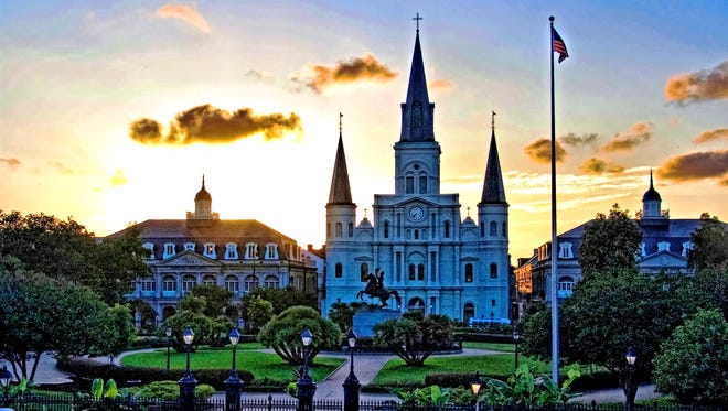 Jackson Square in New Orleans' French Quarter at sunset.