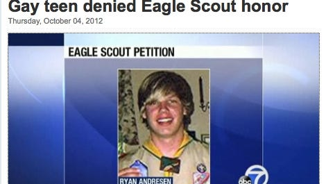 Ray Andresen, 17, is shown in a screen grab from a KGO/ABC7 report on Thursday about the teen's rejection in a bid to become an Eagle Scout because he has come out as gay.
