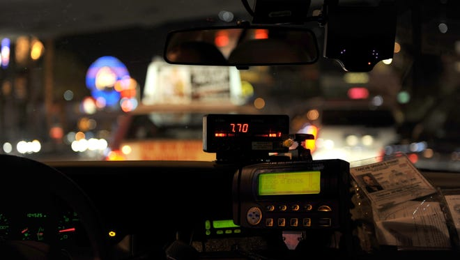 A cab ride in Las Vegas.
