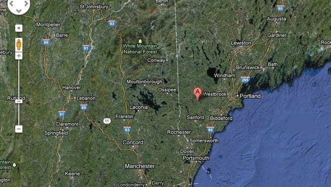 The magnitude-4.6 quake was centered near Hollis Center, Maine, west of Portland.