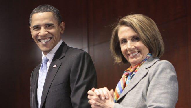 President Obama and House Minority Leader Nancy Pelosi, D-Calif., visit Capitol Hill in 2010.
