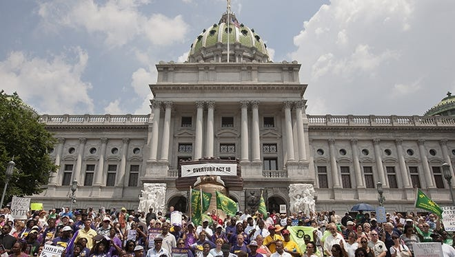 Scene from an NAACP rally against Pennsylvania's voter identification law.
