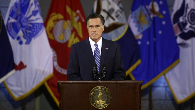Mitt Romney delivers a foreign policy speech at Virginia Military Institute in Lexington, Va., on Monday.