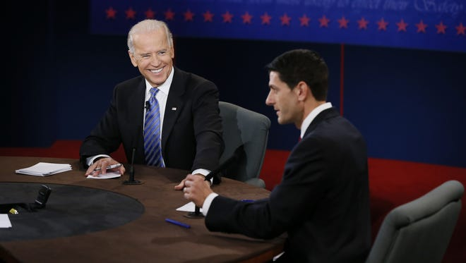 Vice President JBiden, left, and Republican vice presidential candidate U.S. Rep. Paul Ryan, a Wisconsin Republican, square off in Thursday night's debate at Centre College  in Danville, Ky.
