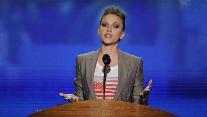 Actress Scarlett Johansson spoke at the 2012 Democratic convention in Charlotte.