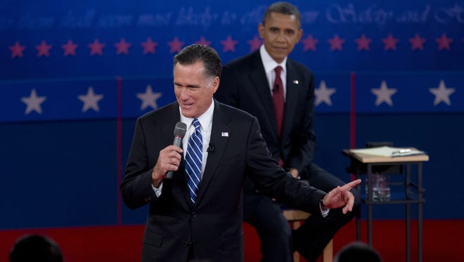 President Obama and Republican challenger Mitt Romney participate in the presidential debate Oct. 16 at Hofstra University in Hempstead, N.Y.