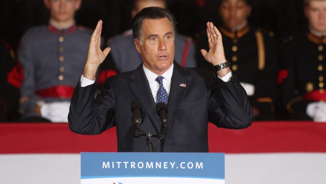 Mitt Romney delivers a major foreign policy speech at the Valley Forge Military Academy in Pennsylvania on Sept. 28.