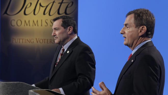Democrat Joe Donnelly, left, and Republican Richard Mourdock are running for the Senate in Indiana.