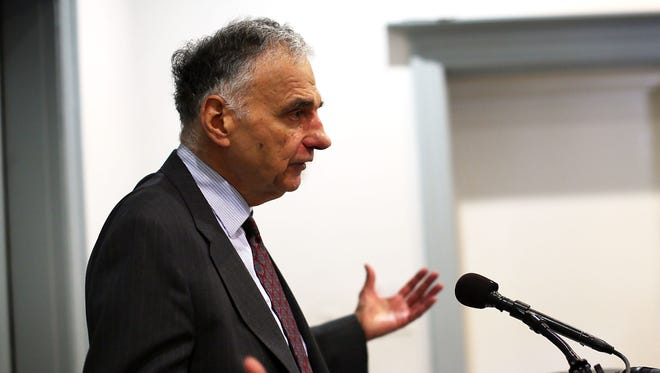 Former presidential candidate Ralph Nader at a July press conference.