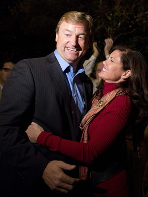GOP Sen. Dean Heller of Nevada and his wife, Lynne, celebrate his election to a full term.