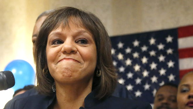 Robin Kelly celebrates winning the Democratic nomination for the Illinois congressional seat previously held by Jesse Jackson Jr.