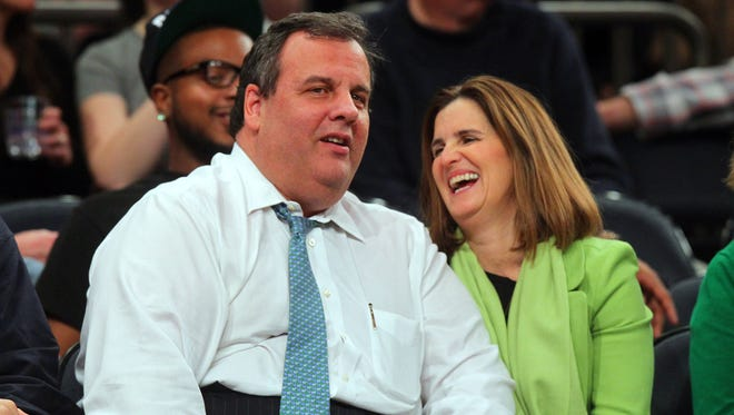 New Jersey Gov. Chris Christie and his wife, Mary Pat, watch a college basketball game this month at Madison Square Garden.