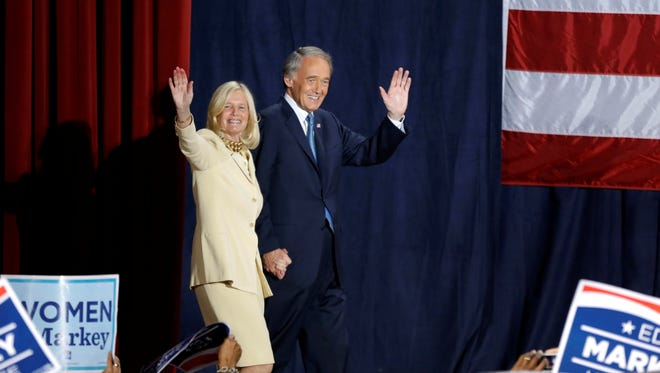 Ed Markey and his wife, Susan Blumenthal, wave to supporters at his victory party for U.S. Senate.