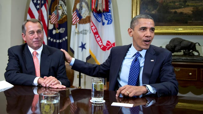House Speaker John Boehner and President Obama rarely get together, as they did here in 2012.