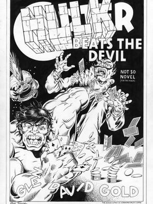 Hulk Beats the Devil commissioned art work by Herb Trimpe for Glen David Gold.