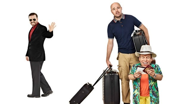 Ricky Gervais, Karl Pilkington and Warwick Davis star in 'An Idiot Abroad.'