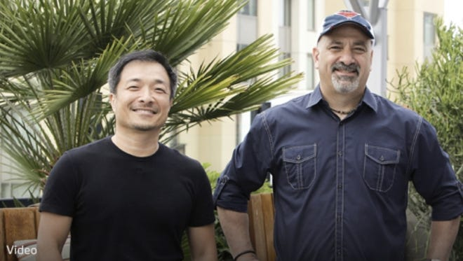 Jim Lee, left, and Dan DiDio guest star on Tuesday's episode of 'Face Off.'