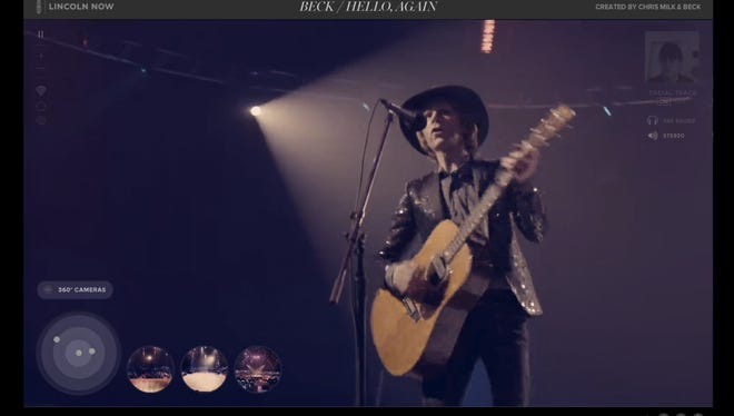 A screen shot from Beck's new 'Sound and Vision' video.