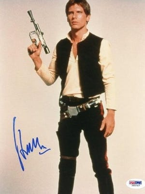 An autographed photo of Harrison Ford is on sale now in Amazon's new collectibles store.