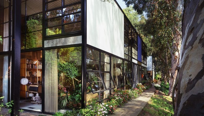 A portrait of the Eames House, in need of restoration.