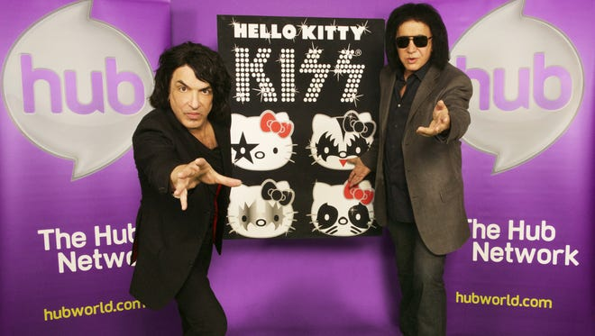 Gene Simmons, right, and Paul Stanley promote the new 'KISS Hello Kitty' series.