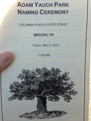 The program for today's park renaming ceremony.