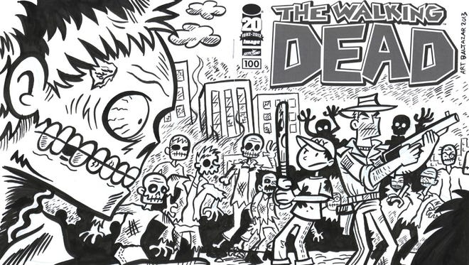 Artist Art Baltazar contributed this 'Walking Dead' cover for the Hero Initiative's charity auction.