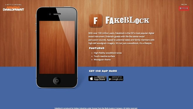 The free Fakeblock app is inspired by the latest season of 'Arrested Development.'