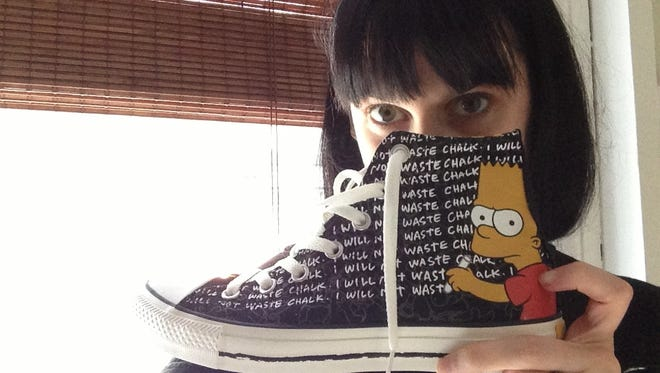 Here's a shot of one of the new 'Simpsons' Converse sneakers.