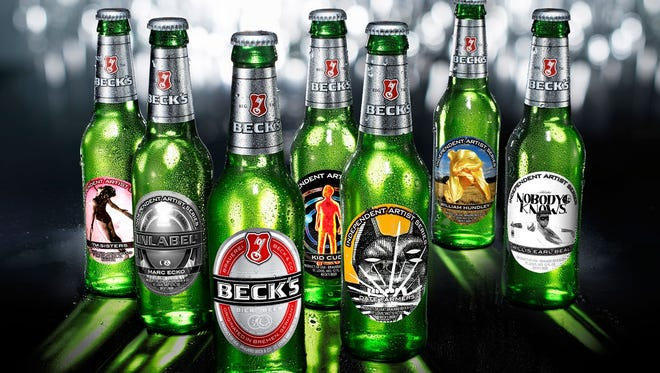 Here's a shot of all of the specially designed bottles of Beck's beer for this year's Art Labels program.