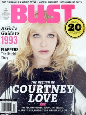 Courtney Love graces the cover of the 20th anniversary issue of 'Bust' magazine.