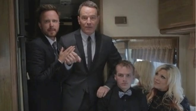 Aaron Paul, left and Bryan Cranston ride in an RV to the 'Breaking Bad' premiere.