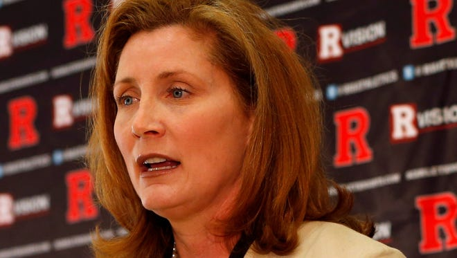 Julie Hermann talks to the media after being introduced as Rutgers University athletic director on May 15.