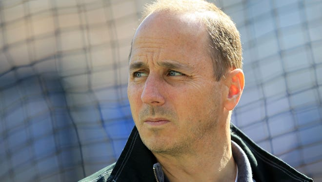 Oct 18, 2012; Detroit, MI, USA; New York Yankees general manager Brian Cashman before game four of the 2012 ALCS against the Detroit Tigers at Comerica Park.  Mandatory Credit: John Munson/THE STAR-LEDGER via US PRESSWIRE ORG XMIT: USPW ORIG FILE ID:  20121018_jla_so3_019.jpg