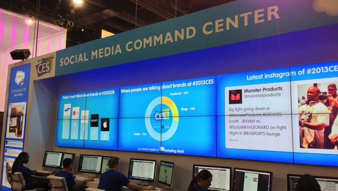 The Social Media Center at CES features a wall of data.