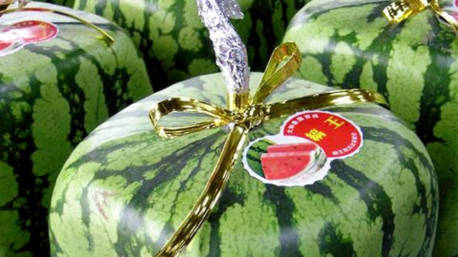Cube-shaped watermelons, grown in Kagawa Prefecture, cost about $80 in Japan.