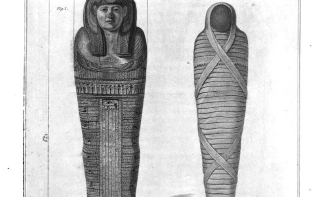Mummy from Thebes from 1825 engraving.