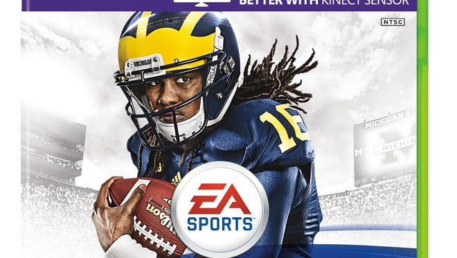 """EA Sports says it """"regularly pays former student-athletes (such as Denard Robinson) when it uses their names and likenesses in connection with its our games."""" Robinson, a former Michigan quarterback, is now with the NFL's Jacksonville Jaguars."""