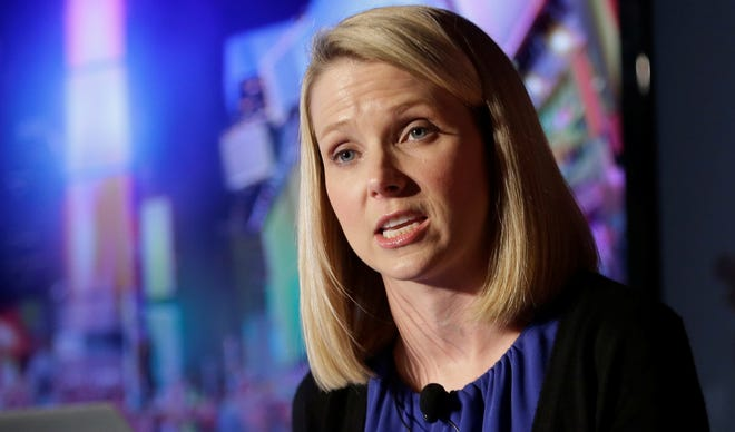 Yahoo CEO Marissa Mayer speaks during a news conference in New York.