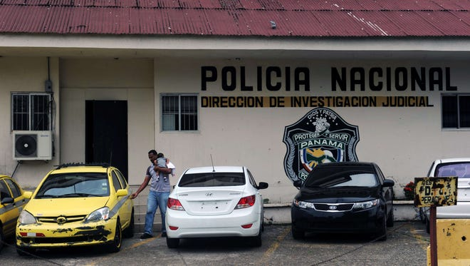 View of the facade of the National Police of Panama (DIJ) headquarters in Panama City on July 19.