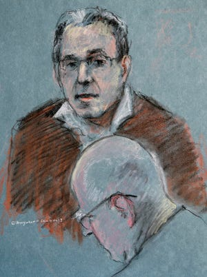 """This courtroom sketch depicts Stephen """"The Rifleman"""" Flemmi testifying at the trial of James """"Whitey"""" Bulger."""