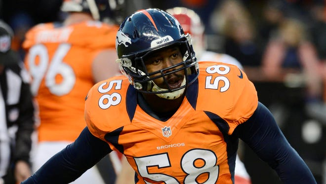 Broncos outside linebacker Von Miller finished second in defensive MVP voting in 2012 after a season in which he had 18.5 sacks.