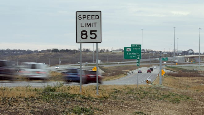 A section of southbound Texas Highway 130  where the speed limit is 85 mph near Mustang Ridge, Texas.