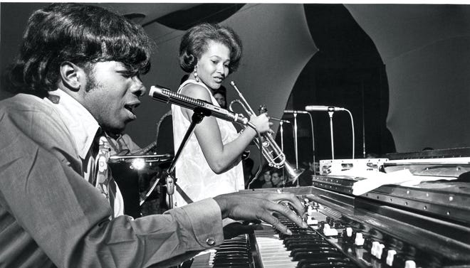 """Sly Stone, left, and Cynthia Robinson of Sly & the Family Stone. Epic/Legacy is releasing a four-CD set called """"Higher!"""" in celebration of Stone's 70th birthday."""