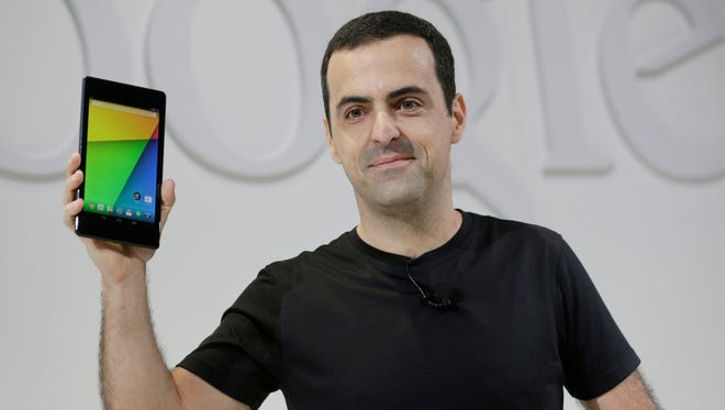 Hugo Barra, vice president of Android product management at Google, displays the new Nexus 7 tablet.